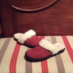 Ugg Aira Red Wine Sheepskin Wool Suede Slippers